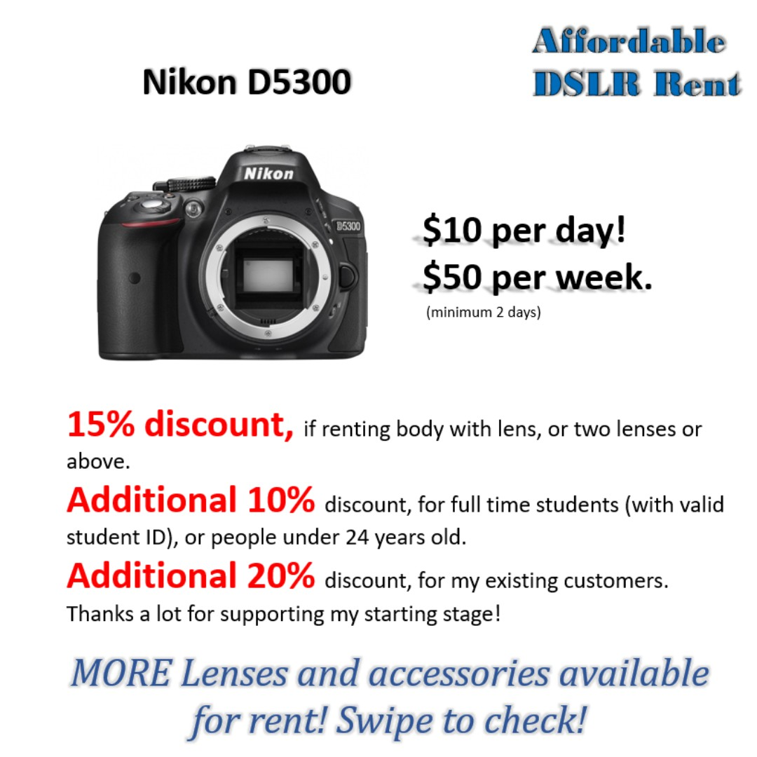 Rent Nikon D5300 Dslr Camera Tags Rental Canon Sony Fujifilm Where To Get Parts Diagram For A D5000 Slr With Dx Vr Afs Photo