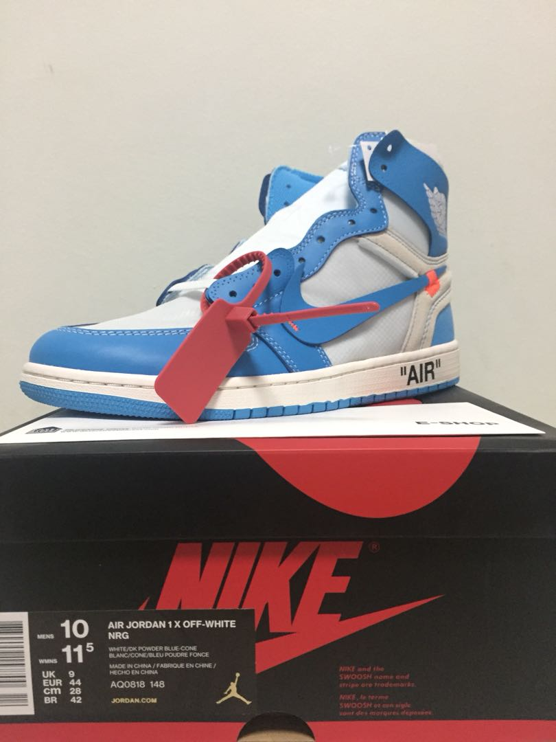6c2024e2e412 US 10 Air Jordan 1 X Off-White UNC NRG