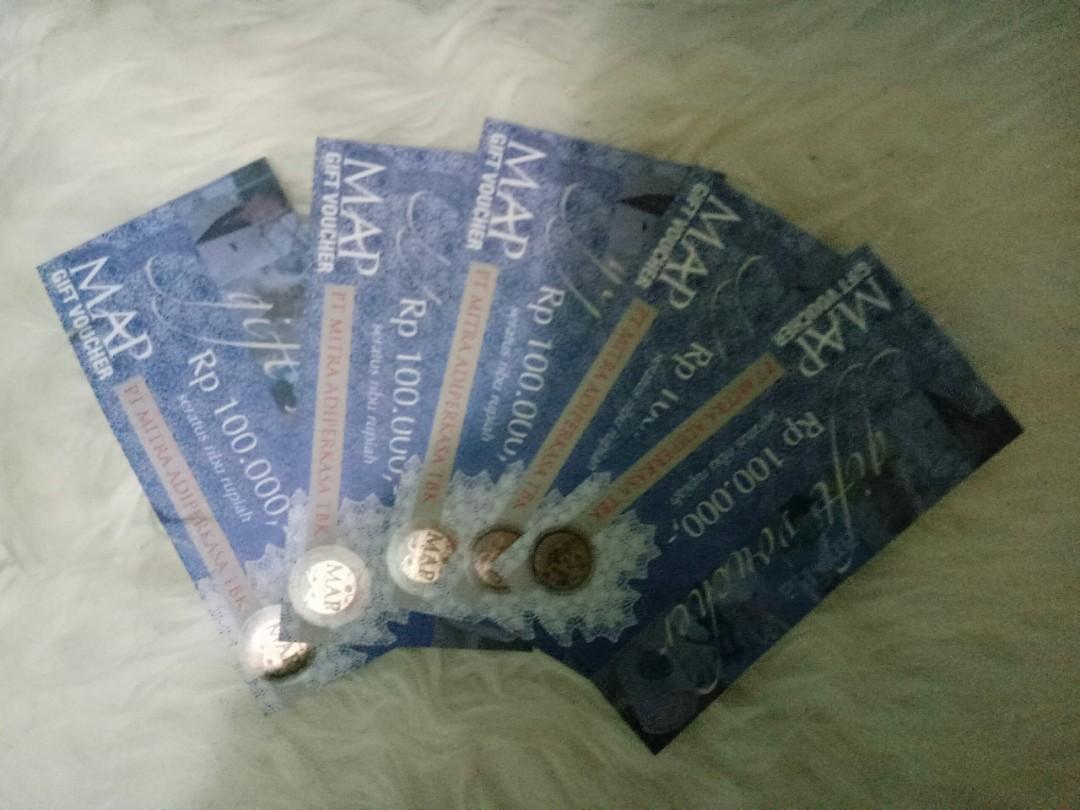 VOUCHER MAP 5 LEMBAR @100.000, Tickets & Vouchers, Gift Cards & Vouchers on Carousell