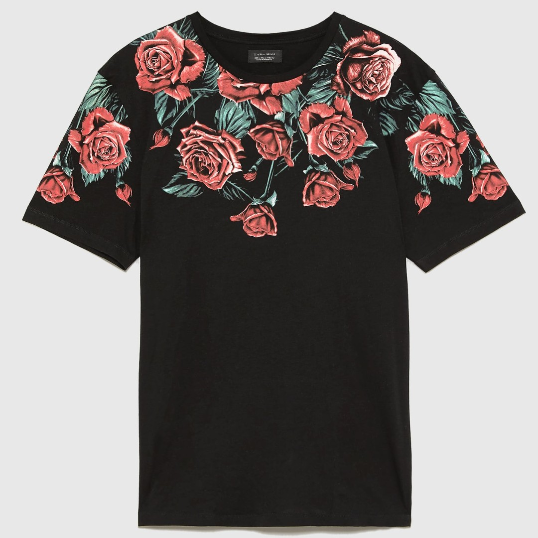 3c43a85e ZARA Floral Red Rose Roses print TSHIRT Black NEW, Men's Fashion ...