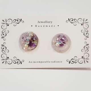 Handmade  手製 手作 紫色 真花 蕾絲 閃石 耳環