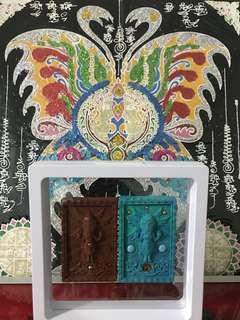 1set 2 amulet SEE HU HAR TAR Kruba Krissana Thai Amulet