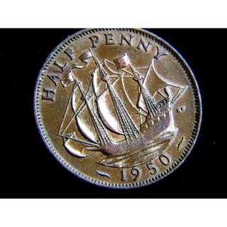 1950年大英帝國金鹿號商船1/2便士銅幣(英皇佐治六世像)