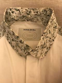 Patrick Ervell marble print white shirt, bottom green lock stitch edge