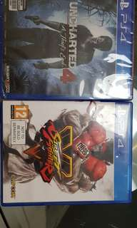 PS4 Original Uncharted 4 brand new (sealed) and Street Fighter V (used) with boxes