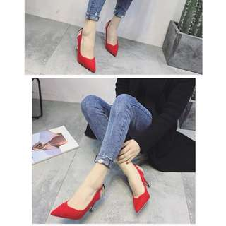Lovely closed toe high heels pumps