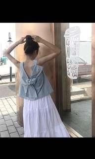 🚚 歐美背後蝴蝶結設計感背心-天空藍