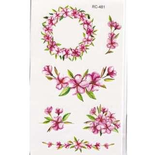 Pink Flowers Temporary Tattoos