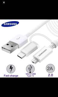 Samsung USB Combo cable Type C Micro USB Galaxy Tab S3 S9 Note 8 S8 plus A8 star