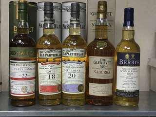 Tamdhu, Glengoyne, Glenlivet Nadurra, Glen Grant BBR, Caperdonich Single Malt Whisky