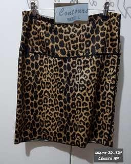 "Contours Leopard Print Mini Skirt L 27-32"""