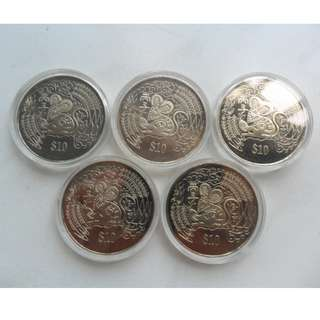 5x 1996 Singapore Lunar Year of the Rat $10 Coin