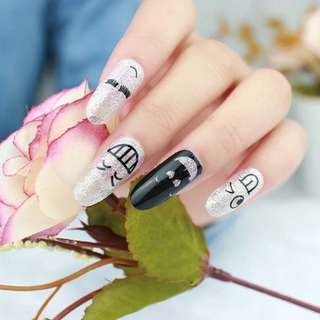 Funny Faces Nail Stickers Shimmer Effects
