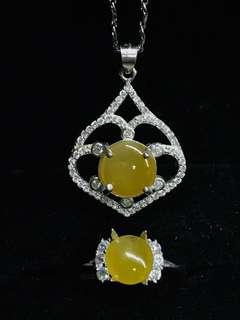 🚚 黃翡項鍊戒指