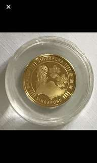 24K/999.9 Yellow Gold {Collectibles Item - Vintage Gold Coin} Very Rare Piece Of 24K/999.9 Pure Gold 足金 SINGAPORE 新加坡 Merlion, Orchids & Singapore Island 1/4oz 24K/999.9 Fine Gold Coin