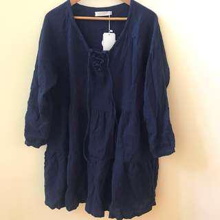 navy linen swing dress