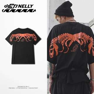 Oversized Sleeve Jony J Dino Skeleton Skull Tee Swag Hiphop