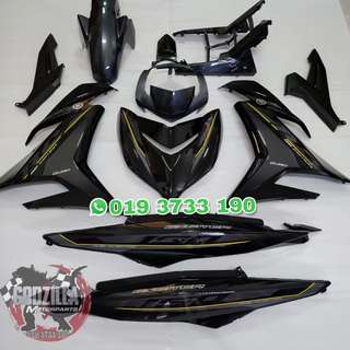 COVERSET EXCITER RC 150 2018 HITAM GREY Y15ZR