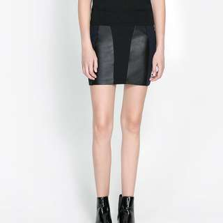 H&M Leather Panel Bodycon Skirt