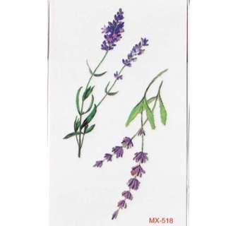 Lavender Flowers Temporary Tattoos