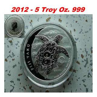 ♦ NZ Mint, FIJI $10 - 2012 Taku, Hawksbill Turtle. 1x 5 Troy Oz. 999 Fine Silver coin