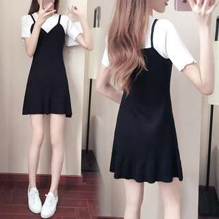 fake Two piece dress short sleeve midi skirt Korean summer student fishtail