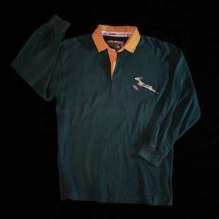 forest green rugby polo shirt