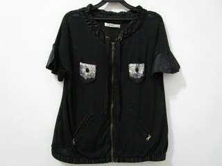 Toppy 集團 jessica黑色亮片口袋蠶絲邊針織外套