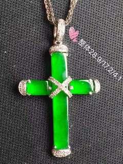 正陽綠十字架吊墜,豪華鑲嵌,特價:¥12500🉐️