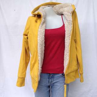 Splash Thick Fur - Yellow Hooded Jacket