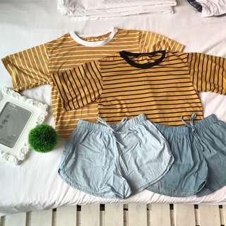 Mustard shirt and maong shorts