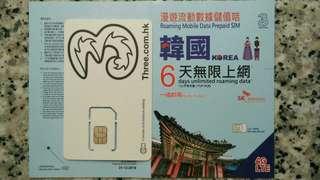 KOREA 韓國 上網卡 6天 4G 3GB +128kbps 無限數據卡 SIM CARD