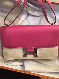 正品 全新 絕版 Hermes CONSTANCE ELAN E5 桃粉紅色Epsom 皮上膊斜揹袋
