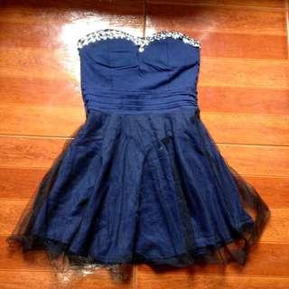 Tube navy blue dress