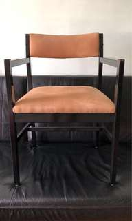 Vintage Wooden chair with armrest and fabric seat
