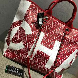 Chanel Large Shopping Tote Bag Red Color