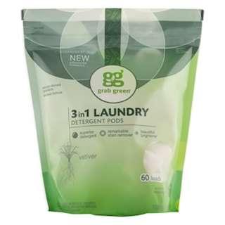 GrabGreen, 3-in-1 Laundry Detergent Pods, Vetiver, 60 Loads,2lbs, 6oz (1,080 g)