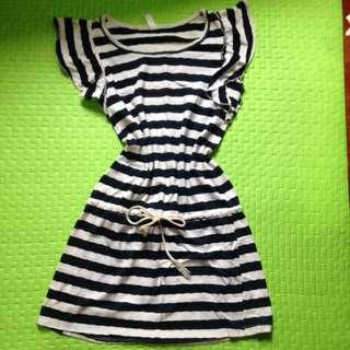 Blue N white stripe dress