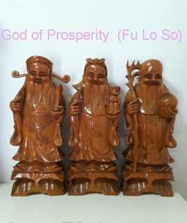 Sandal Wood FU LO SO GOD OF PROSPERITY
