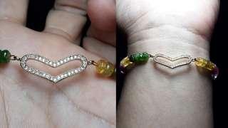 Multicolor Tourmaline Heart Bracelet