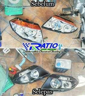 Cuci headlamp smoke proton daihatsu perodua
