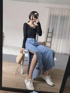 韓國🇰🇷開岔牛仔褲長褲