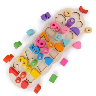 BN Wooden Colourful Rainbow 3-in-1 Log Board Caterpillar Peg Number Puzzle Shape Sorter Set