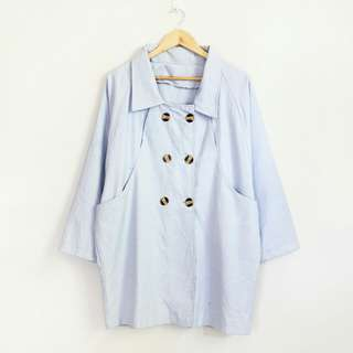 Korean Fashion Style Powder Blue Soft Jacket Coat
