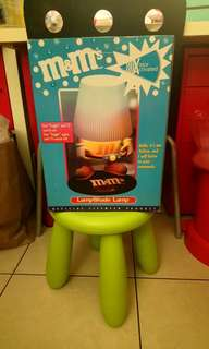 全新附盒M&M's黃M大檯燈桌燈