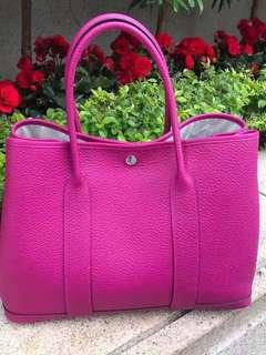 正品 全新 Hermes Garden Party 36 L3 粉紫色手挽上膊袋