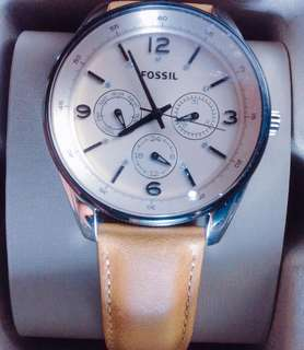 Fossil Female Three-Hand Multifunction Tortilla Brown Leather Watch