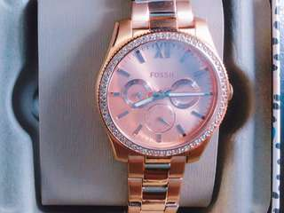 Fossil Female Three-Hand Multifunction Rose Gold Stainless Steel Watch