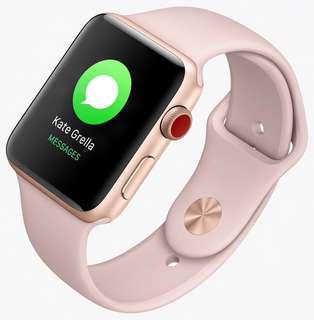 Apple Watch s3 38 lte 金色錶殼配淺粉紅運動錶帶 戴過兩次