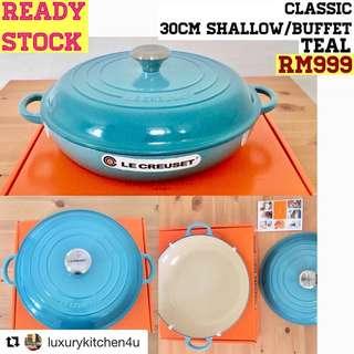 Le Creuset classic cast iron 30cm shallow/buffet casserole (teal)